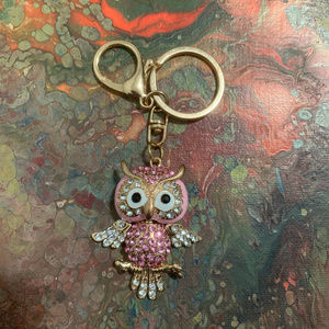 Accessories - PINK OWL bejeweled keychain